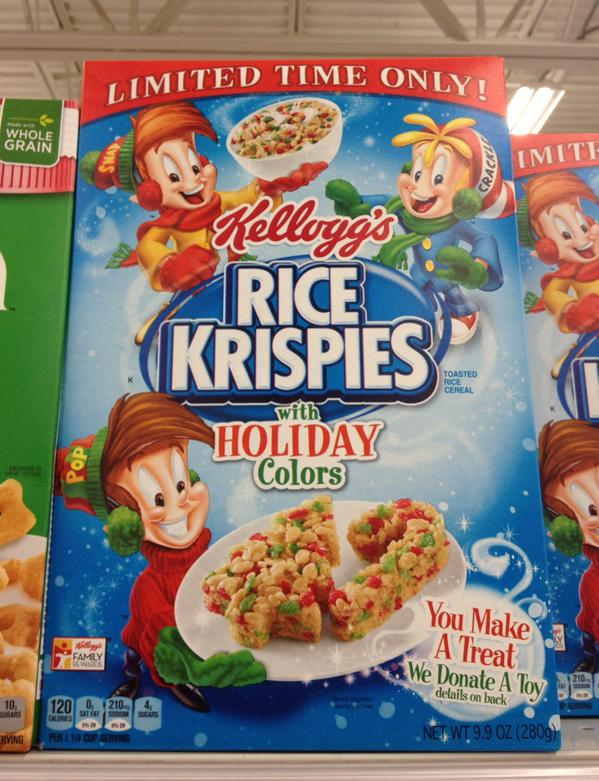 special spooned spotted rice krispies cereal with holiday colors