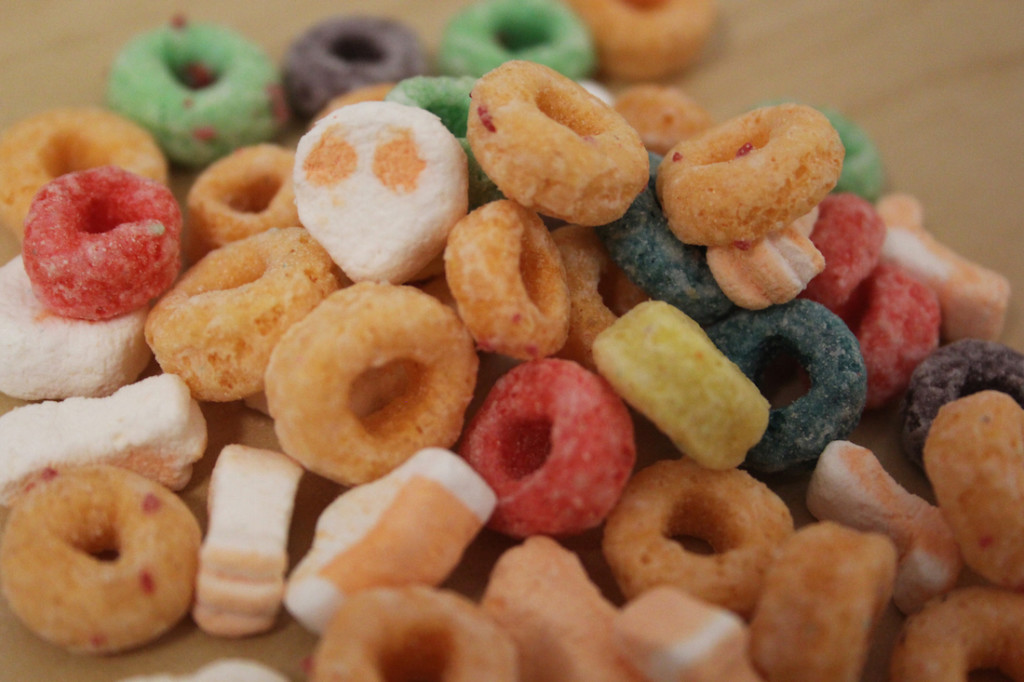 Halloween Froot Loops with Skeleton Marshmallows