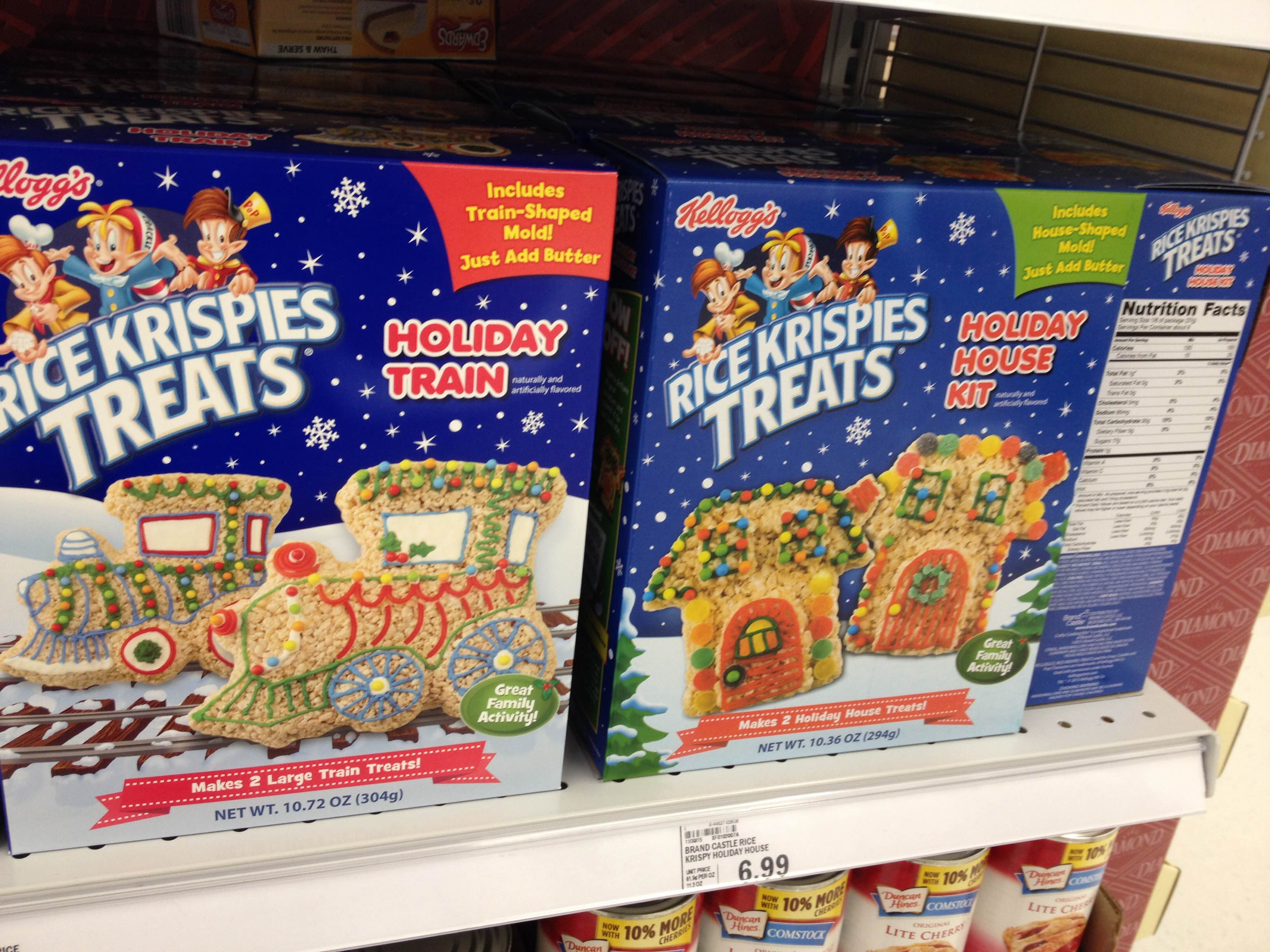 spooned spotted rice krispies treats holiday train and holiday house kits