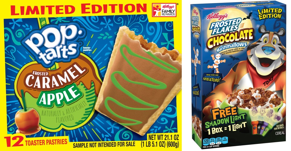 Kellogg's New Frosted Caramel Apple Pop-Tarts & Chocolate Frosted Flakes with Skeleton Marshmallows