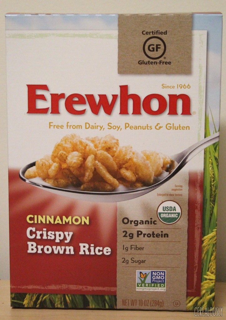 Erewhon Cinnamon Crispy Brown Rice Cereal Box