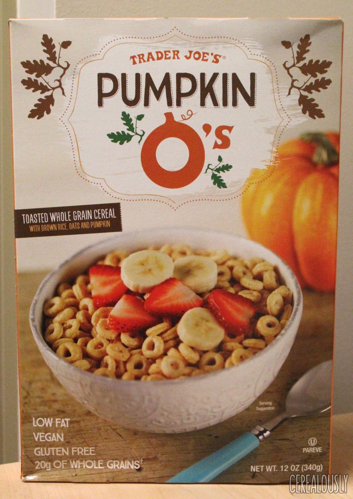 Trader Joe's Pumpkin O's Cereal Box