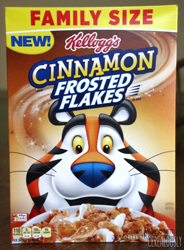 Kellogg's Cinnamon Frosted Flakes Cereal Review Box Design
