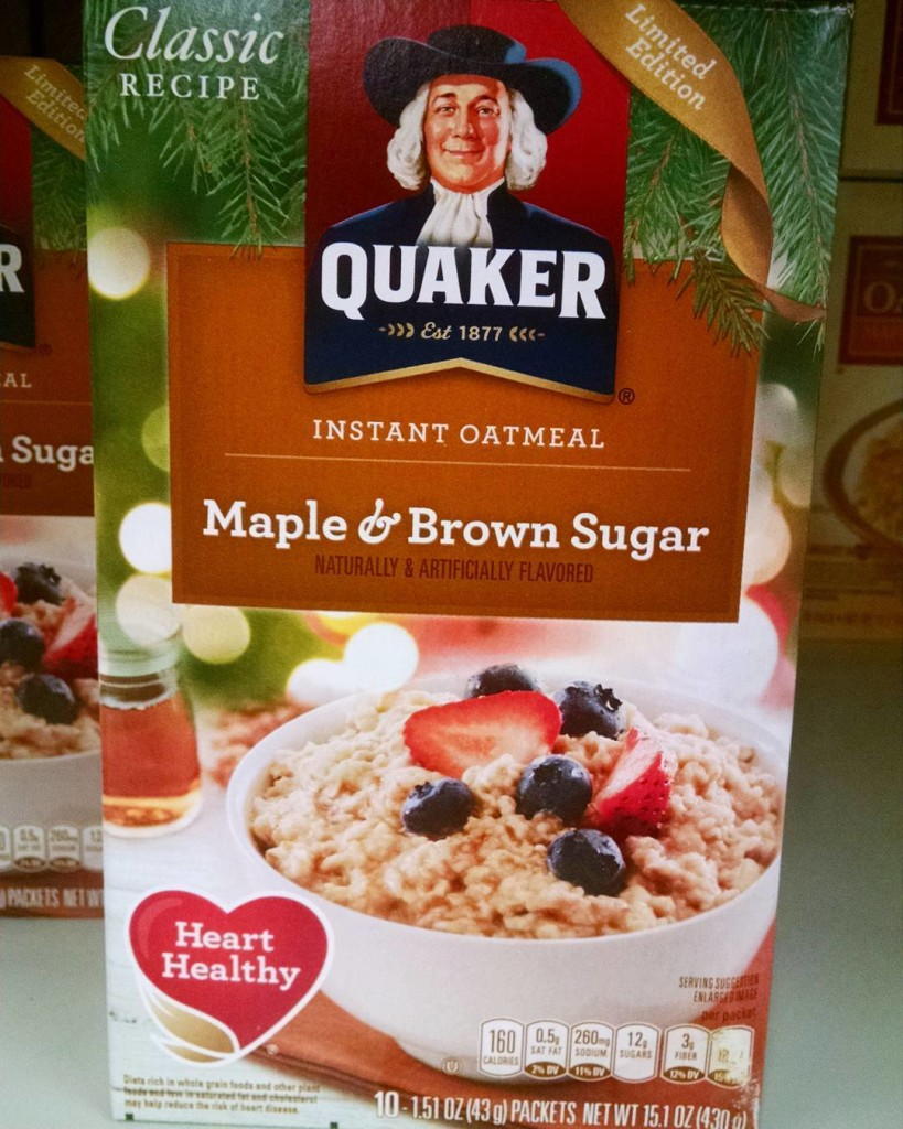 Quaker's Holiday Limited Edition Maple Brown Sugar Oatmeal Box