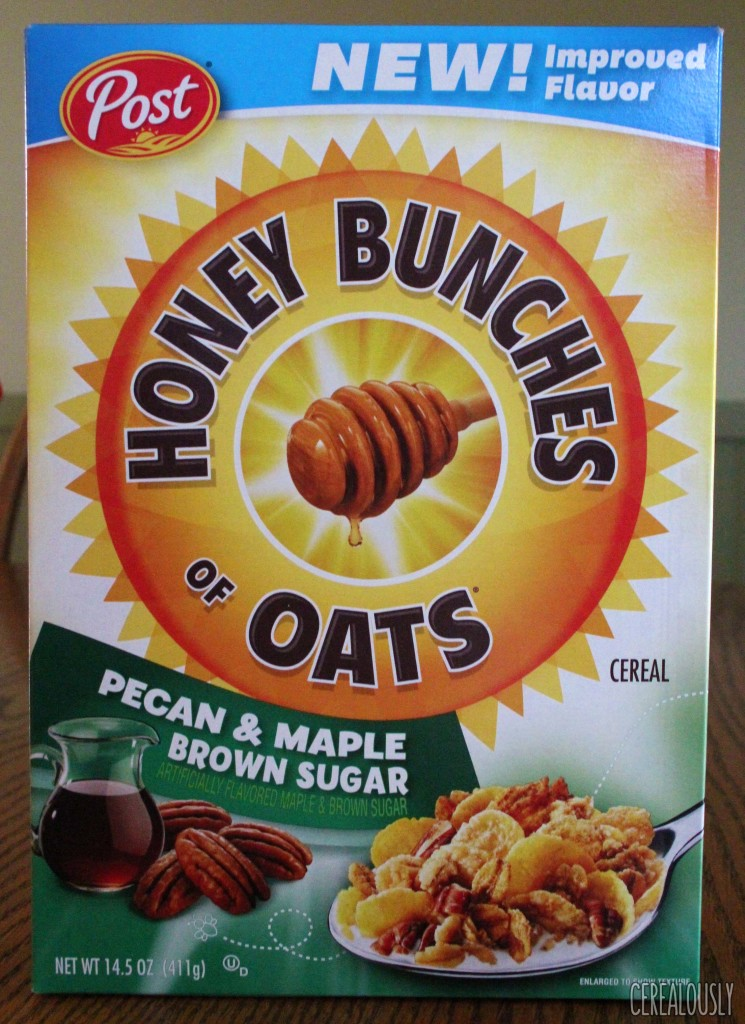 Post Pecan & Maple Brown Sugar Honey Bunches of Oats Cereal Box