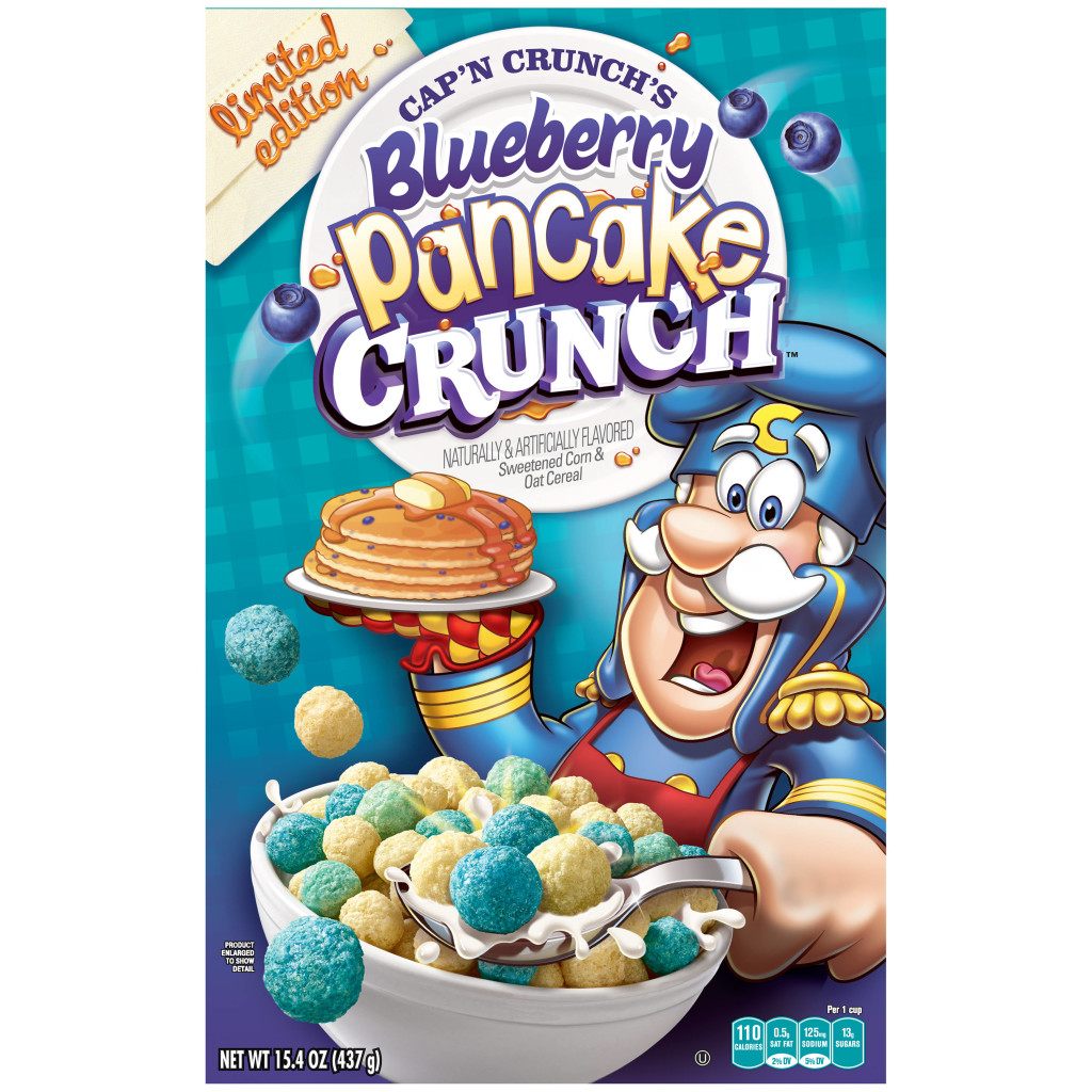 Cap'n Crunch's Blueberry Pancake Crunch Cereal Box