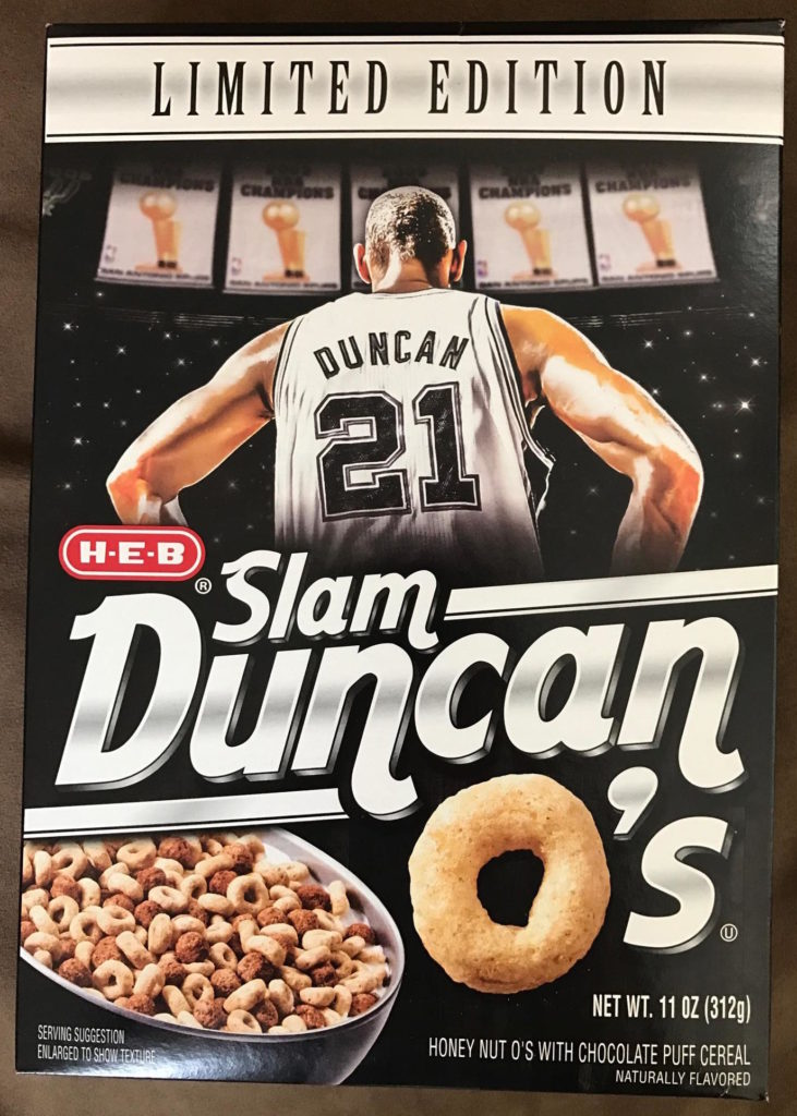 H-E-B Slam Duncan O's Cereal 2017 Box