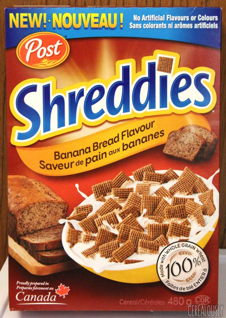 Canadian Post Banana Bread Shreddies Box Cereal Review