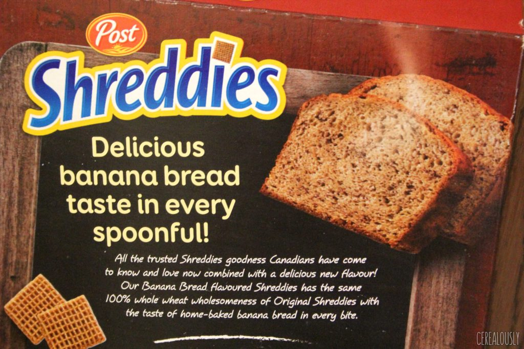 Canadian Post Banana Bread Shreddies Back of the Box Cereal Review