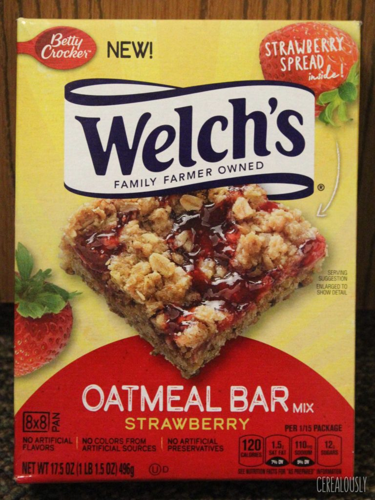 Betty Crocker Welch's Strawberry Oatmeal Bars Baking Mix Box