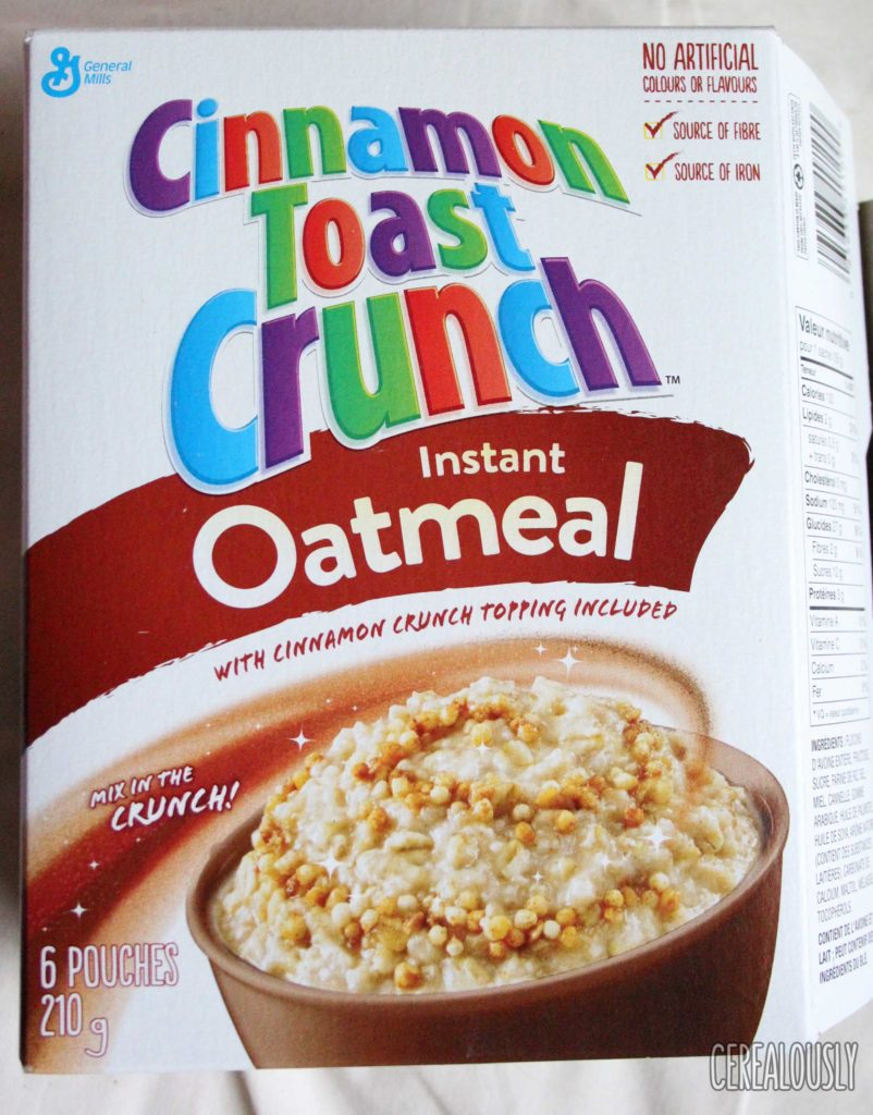 General Mills Canada: Cinnamon Toast Crunch Instant Oatmeal Box Review