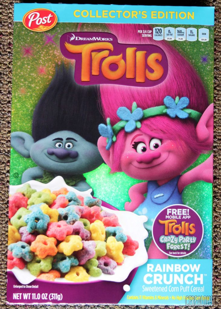 Post Trolls Cereal Rainbow Crunch Box Review