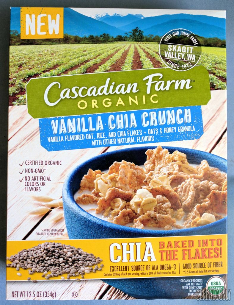 Cascadian Farm Organic Vanilla Chia Crunch Cereal Review Box
