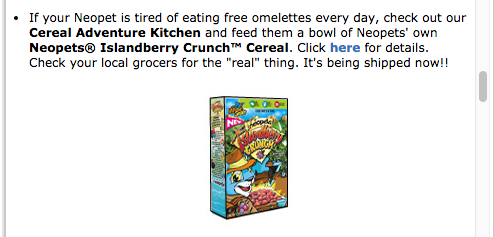 (From the Neopets New Features Newsletter, Jan. 16th, 2006)