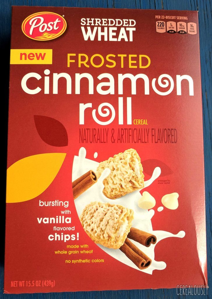 Post Frosted Cinnamon Roll Shredded Wheat Cereal Review Box