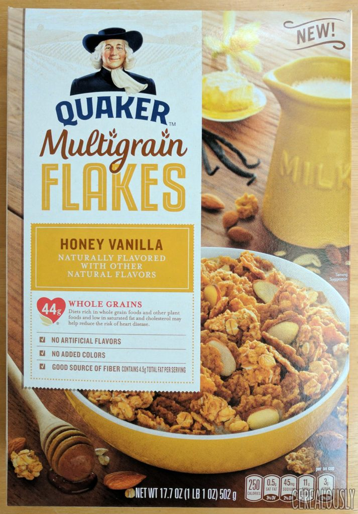 Quaker Honey Vanilla Multigrain Flakes Cereal Review – Box
