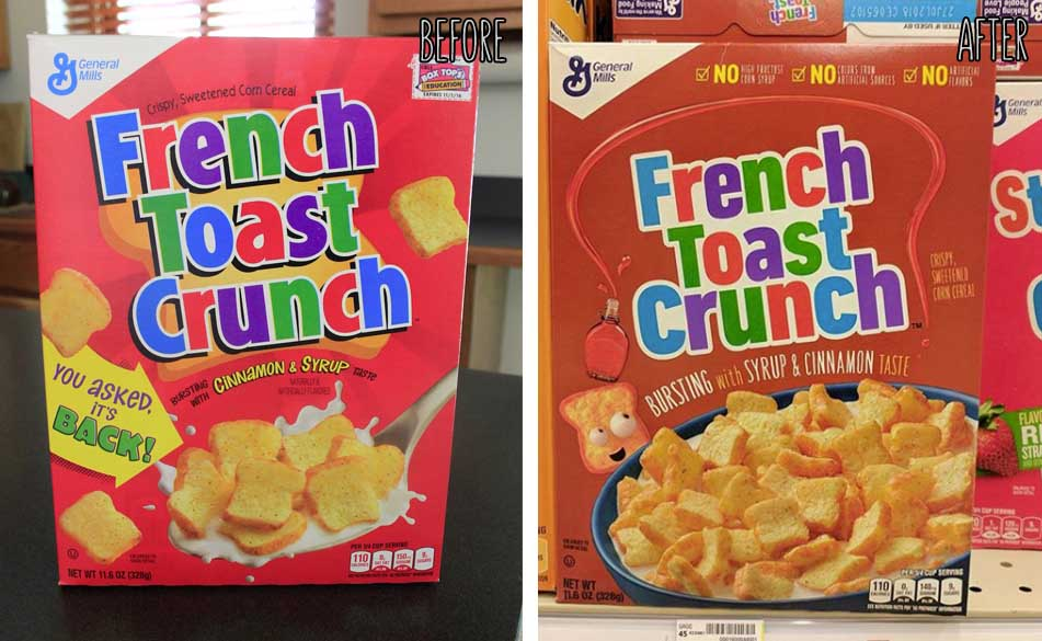 Redesigned French Toast Crunch Cereal Box