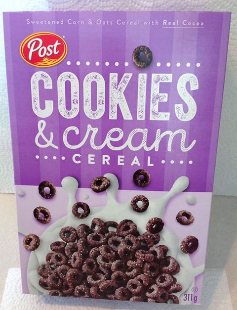 Post Cookies & Cream Cereal Box (Canada)