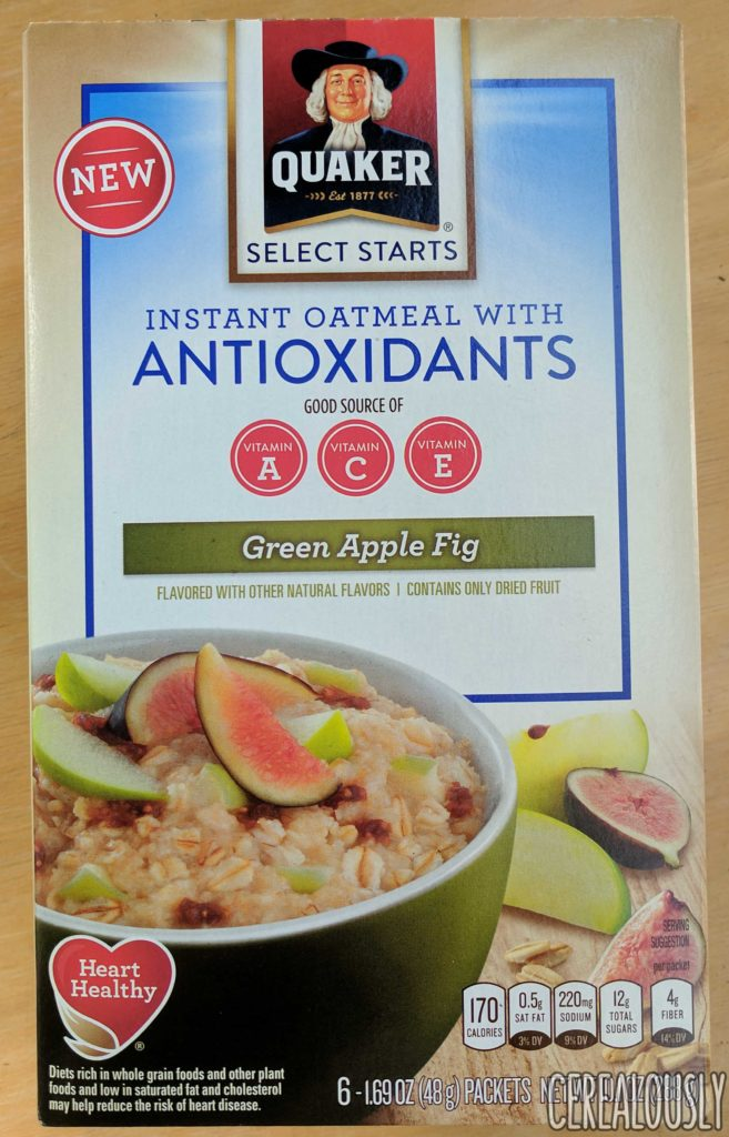 Quaker Green Apple Fig Oatmeal with Antioxidants Review – Box