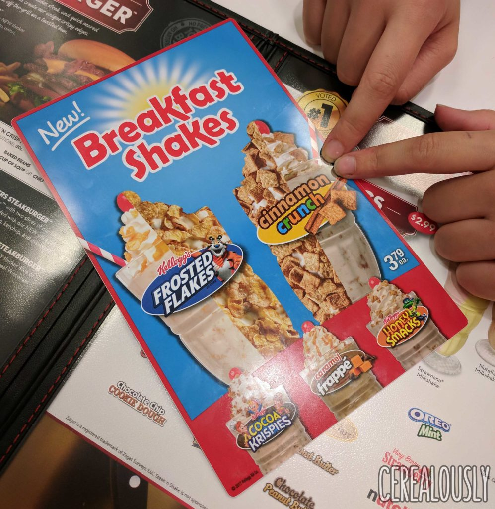 Steak 'n Shake Breakfast Cereal Milkshakes