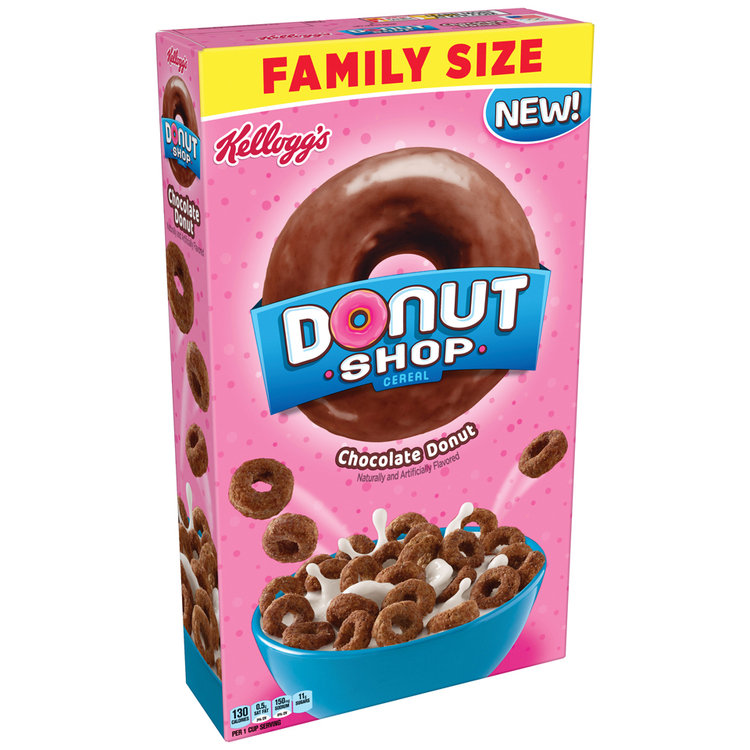 Kellogg's Donut Shop Chocolate Donut Cereal Box