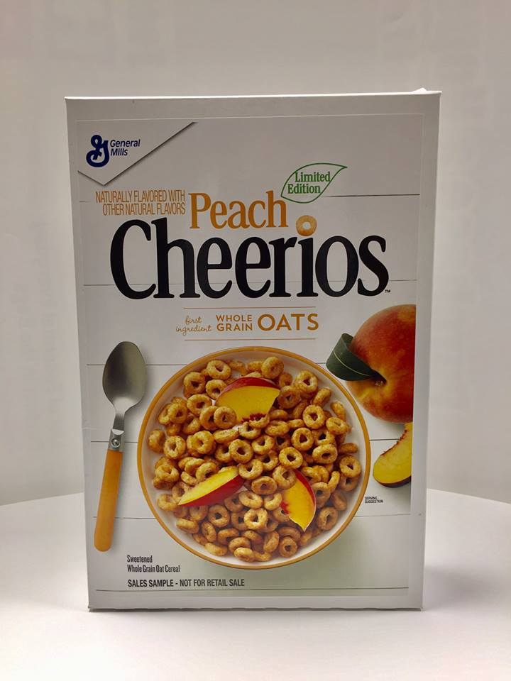 General Mills 2018 Peach Cheerios Cereal Box