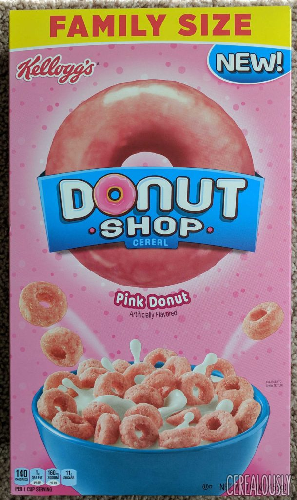 Kellogg's Donut Shop Pink Donut Cereal Review Box