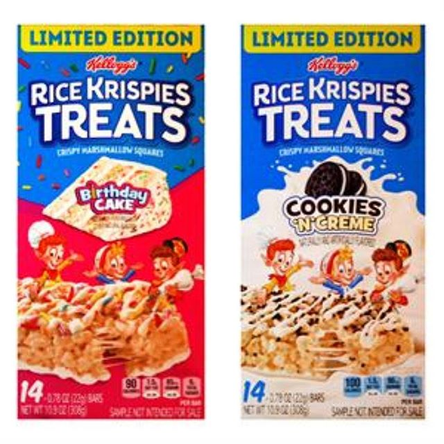 Kellogg's Birthday Cake Cookies and Cream Rice Krispies Treats