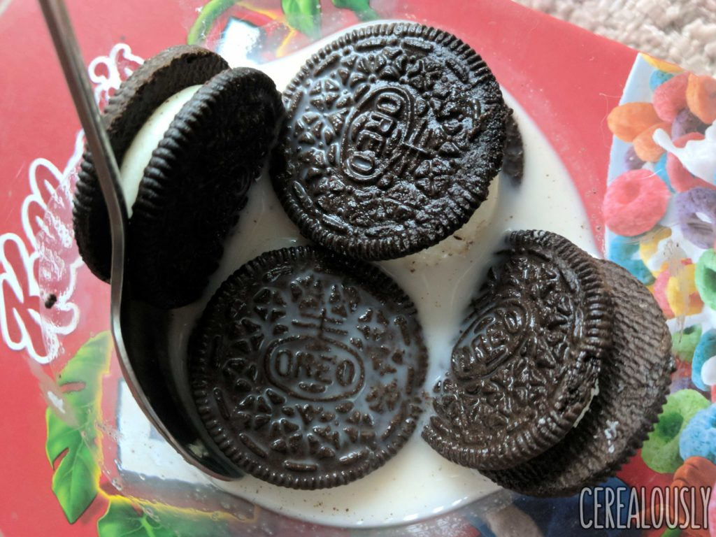 Nabisco Mystery Oreo Cookies Review Cereal Dunked in Milk
