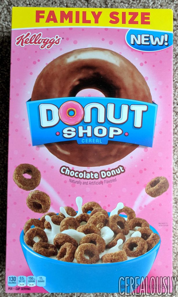 Kellogg's Donut Shop Chocolate Donut Cereal Review Box