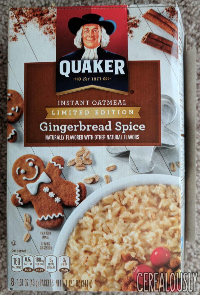 Quaker Gingerbread Spice Oatmeal Review Box