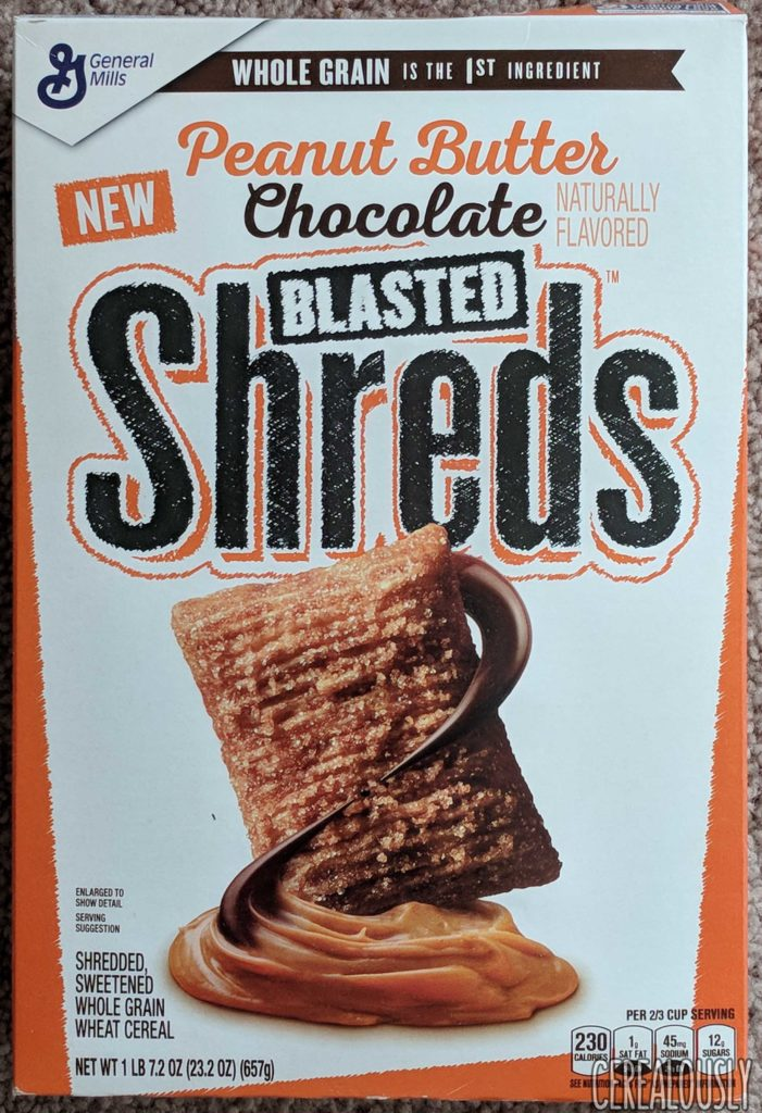 General Mills New Peanut Butter Chocolate Blasted Shreds Cereal Review Box