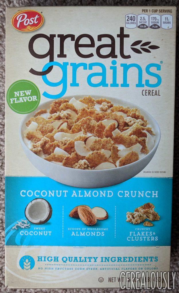 Post Great Grains Coconut Almond Crunch Cereal Review Box