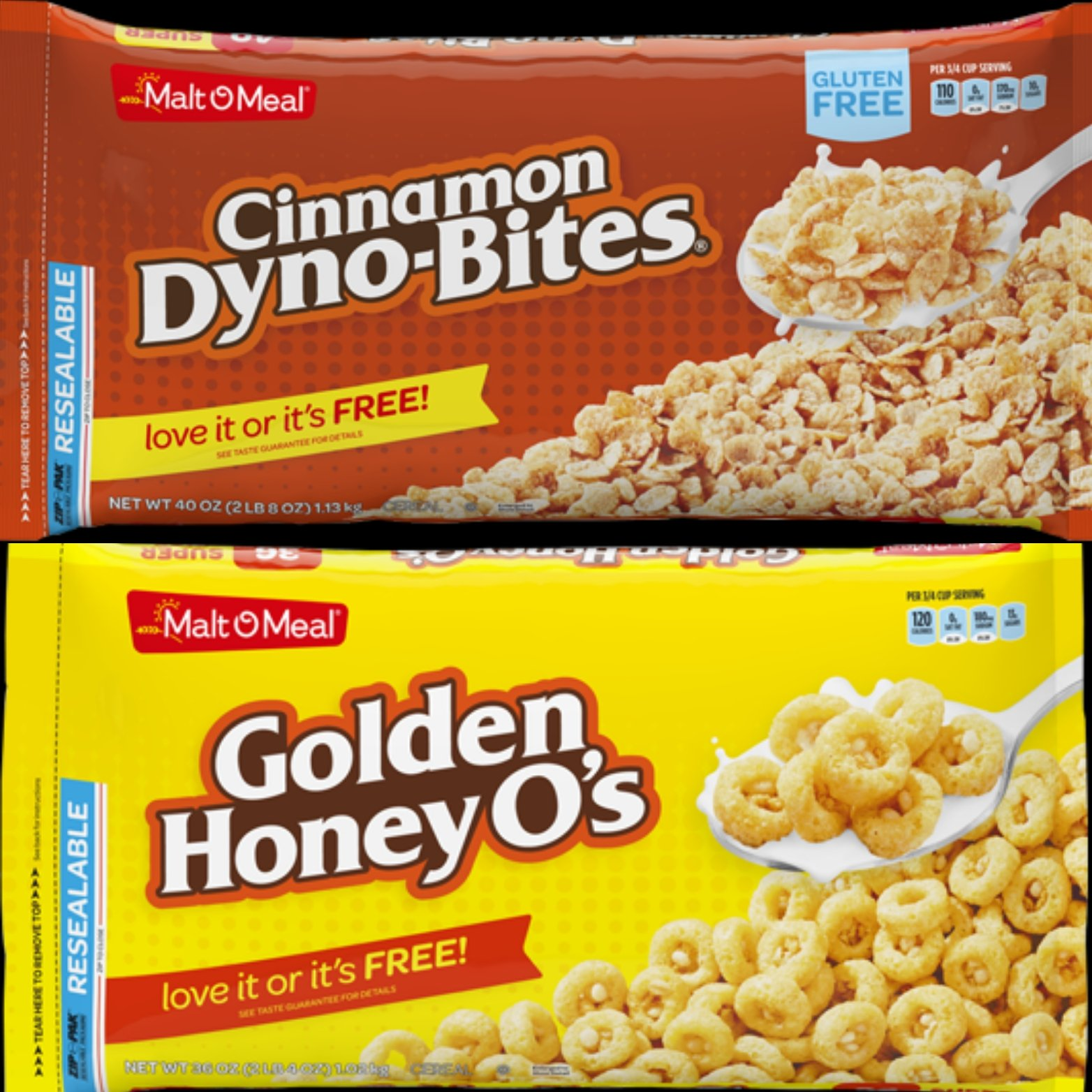 Malt-O-Meal Cinnamon Dyno-Bites and Golden Honey O's Cereal